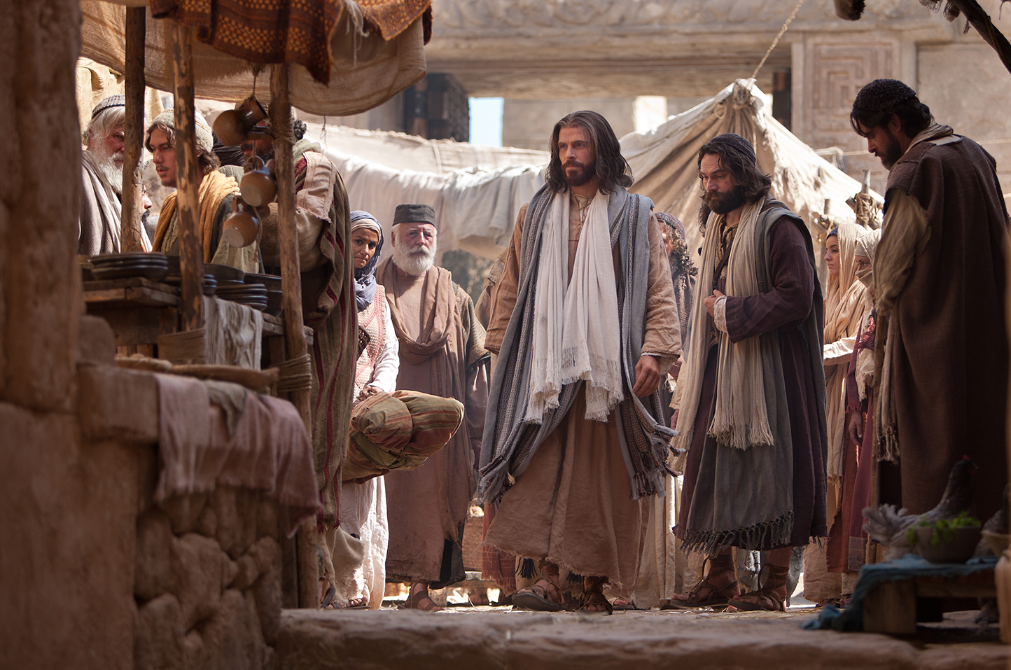 Jesus walking with others