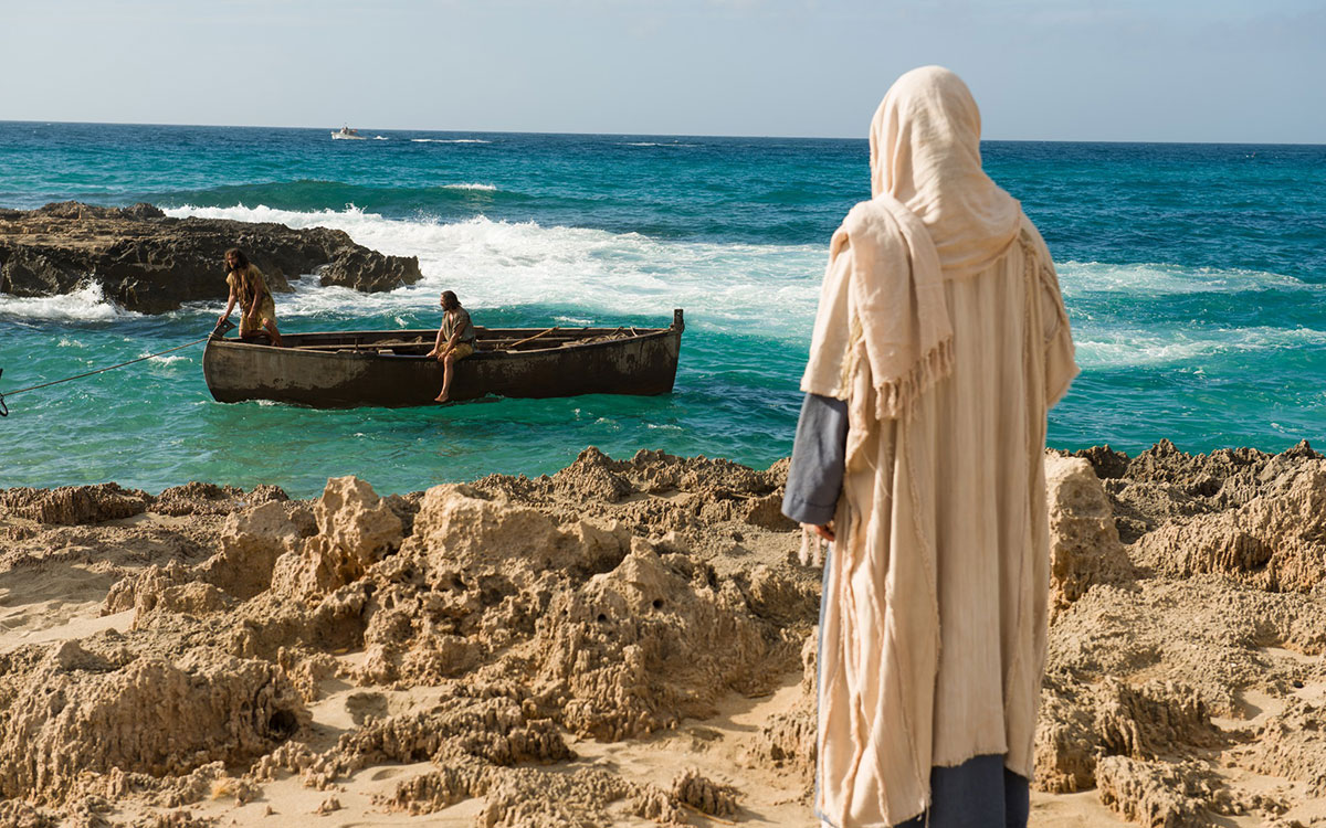 Christ standing by the sea